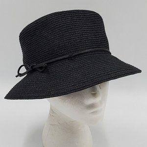 Nine West Black Straw Bucket Hat